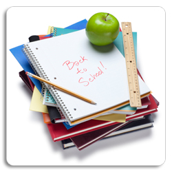 image of a stack of school supplies with Back to School written on notebook