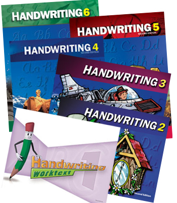 the covers of the grades 1-6 Handwriting textbooks